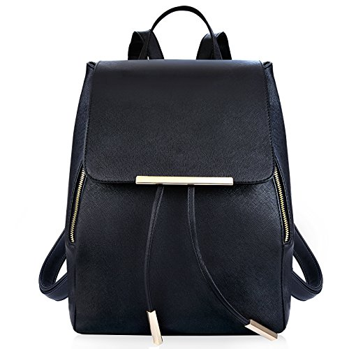 COOFIT Rucksack Damen PU Leder Rucksack für Mädchen Rucksack Schwarz Damen Rucksack Tasche Schulranzen