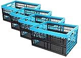 HRB Profi Klappbox, 32 Liter, 48 x 35 x 23cm, blau/schwarz (4 Stück)