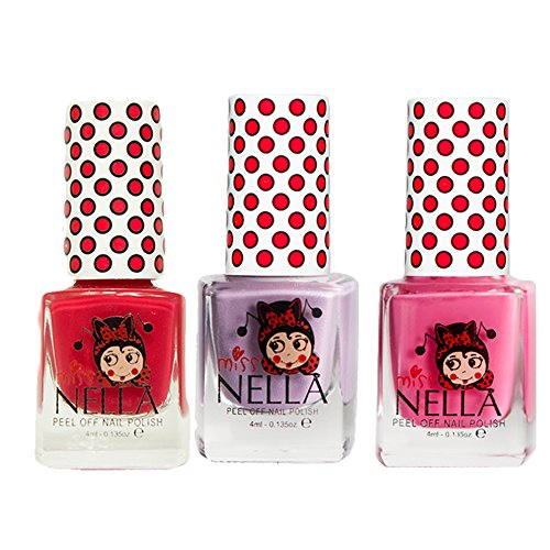Miss Nella Schaukel rosa A Boo, Schmetterling Flügel Glitzer, Strawberry 'n 'cream spezielle Glitzer Kinder Nagellack mit Peel Off auf Wasserbasis ()