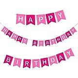 Oblique-Unique Happy Birthday Girlande in Pink und Rosa aus Echtem Filz - Geburtstag Party Dekoration