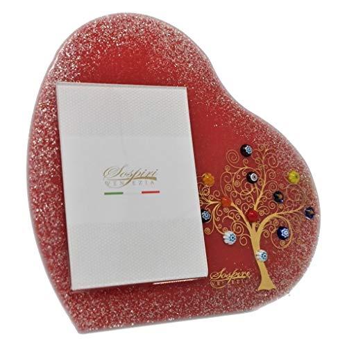 Sospiri venezia portafoto cuore da tavolo- albero della vita - in vetro con murrine di murano e oro zecchino, realizzato a mano da artigiani veneziani, 17x17 cm - dimens. foto cm. 7x10 (rosso, cm. 17)