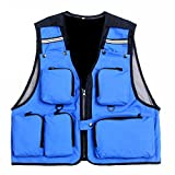 Suyi Hombres de las señoras de bolsillo multi-bolsillo de chaleco al aire libre chaleco de...