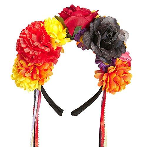 if mit Blumen und Bändern, womens, One Size (Alle Schwarzen Outfits Für Halloween)