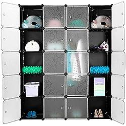 Finether 20 Cube Armoire Penderie Motif de Fleur Bouclé Noir Storage Modulable Meuble Étagères de Rangement DIY avec Blanc Portes pour Vêtements Chaussures Jouets Livres Bibelots
