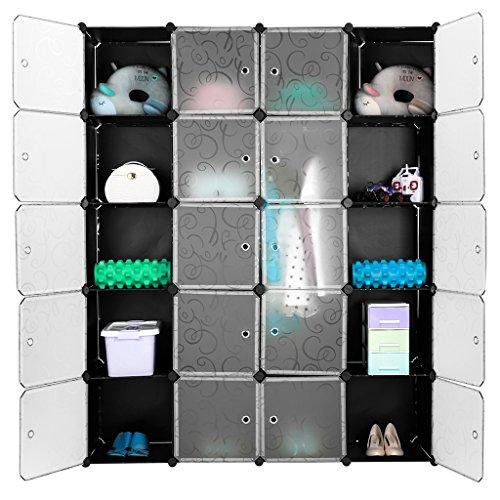 Finether 20-Cube Armoire Penderie Motif de Fleur Bouclé Noir Storage Modulable Meuble Étagères de Rangement DIY avec Blanc Portes pour Vêtements Chaussures Jouets Livres Bibelots