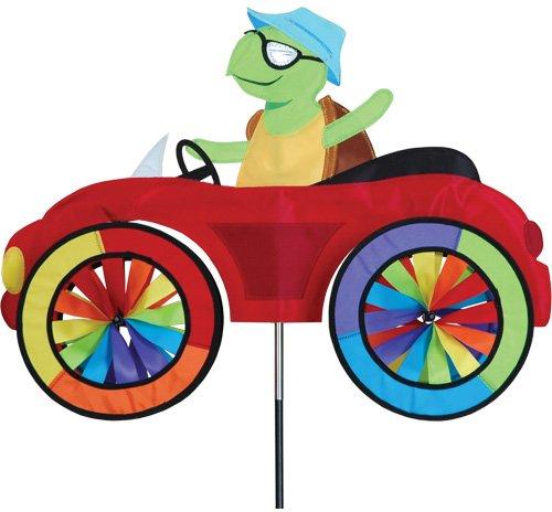 girouette tortue dans sa voiture - décoration jardin girouette tortue - moulin à vent terrasse - dimension 64x50cm - hauteur : 110cm - diamètre des roues : 20cm