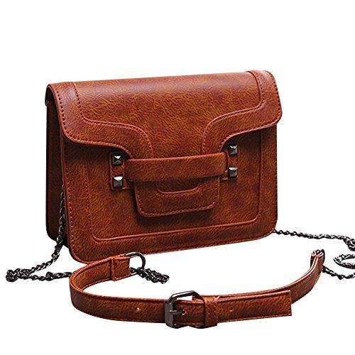 Damen Umhängetaschen Handtasche Frauen Vintage PU Leder Crossbody Tasche Schulterbeutel Braun Braun