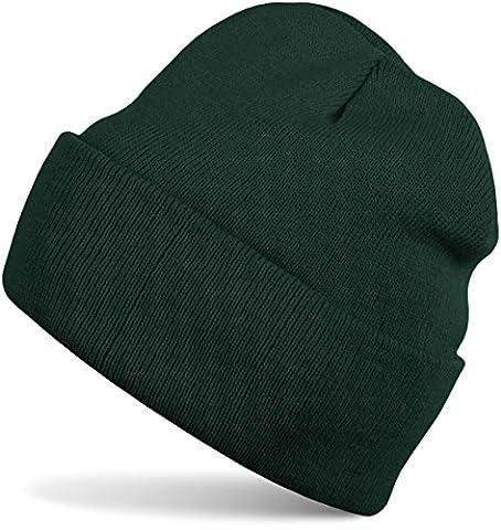 styleBREAKER klassische Beanie Strickmütze, warme Feinstrick Mütze doppelt gestrickt, Unisex 04024029, Farbe:Dunkelgrün
