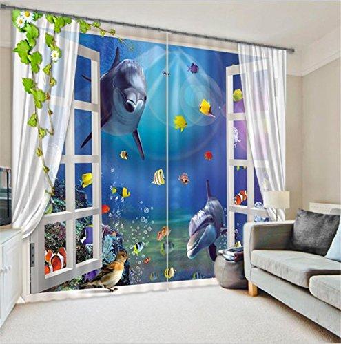 Chlwx Dolphin 3D Fenster Vorhänge Für Wohnzimmer Betten Zimmer Hotel Büro Vorhang VorhängeHöhe260cm X Breite400cm
