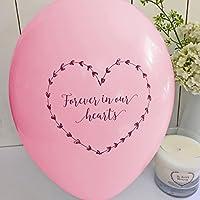 25color rosa 'Forever en nuestros corazones' Funeral recuerdo tarjeta de globos–por ángel y paloma