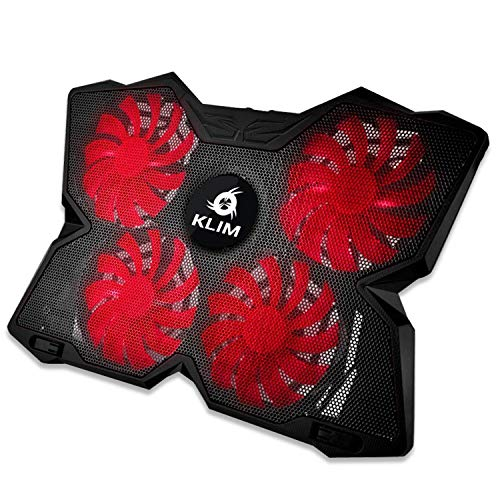 KLIMTM Wind - Refroidisseur Ordinateur Portable + Le Plus Puissant + Refroidissement Ultra Rapide + 4 Ventilateurs Silencieux + Refroidisseur PC Portable PS4 Xbox - Version 2020 - Rouge et Noir