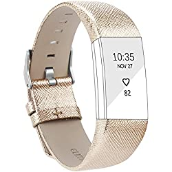 Correa de repuesto ajustable de piel para pulsera inteligente Fitbit Charge 2, color dorado