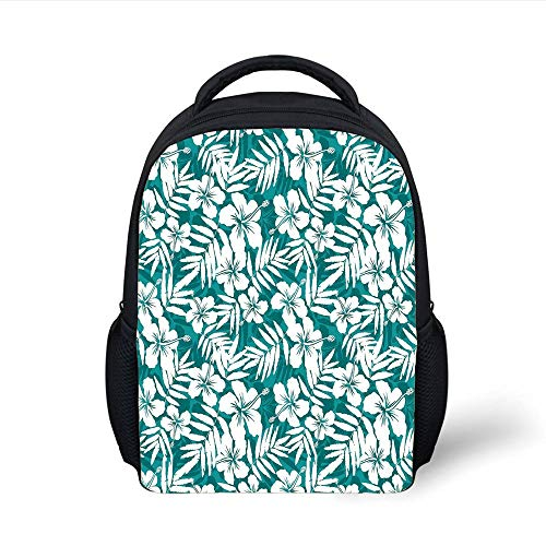 Leaf,Abstract Hawaiian Exotic Hibiscus Flowers and Banana Palm Leaves Art Print Decorative,Petrol Blue and White Plain Bookbag Travel Daypack ()