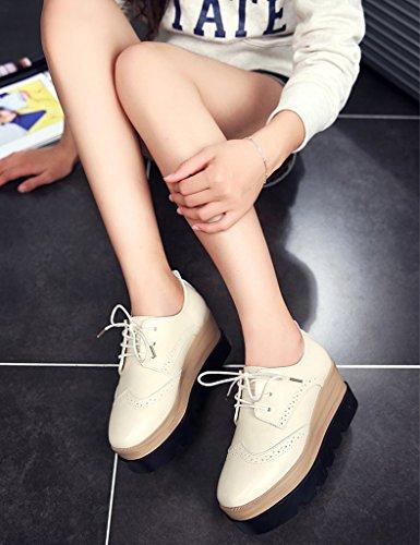 HWF Chaussures femme Chaussures de plate-forme de fond épais printemps femmes chaussures de style britannique occasionnels simples femmes chaussures ( Couleur : Beige , taille : 39 ) Beige