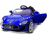 ELEKTROAUTO KINDER AUTO MASERATI GT ( BLAU ) 2 x 45W Motor + 1 x wiederaufladbare Batterie (12V 7Ah) + PILOT für Eltern 2.4Ghz. / Perfekt für Geschenk