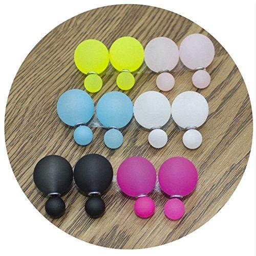 Boucles D'Oreilles - Double Boule - Fluo - Lot de 6 - Multicolore