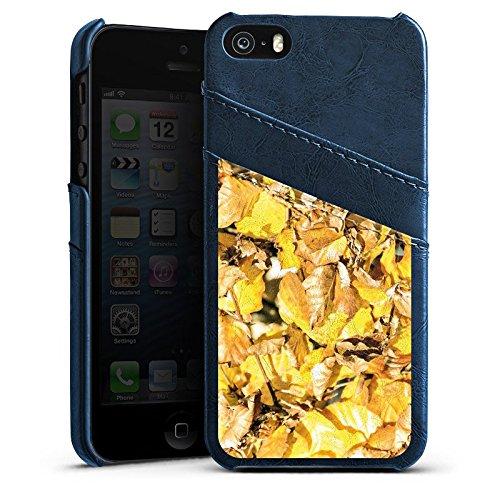 Apple iPhone 5 Housse étui coque protection Automne Feuillage Feuilles Étui en cuir bleu marine