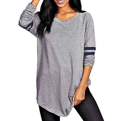 Vêtements LILICAT Femmes Baseball College Mode Rayé Automne À Manches Longues T-shirt Sweat Blouse Blouse Blanc S-XL (Gray, 3XL)