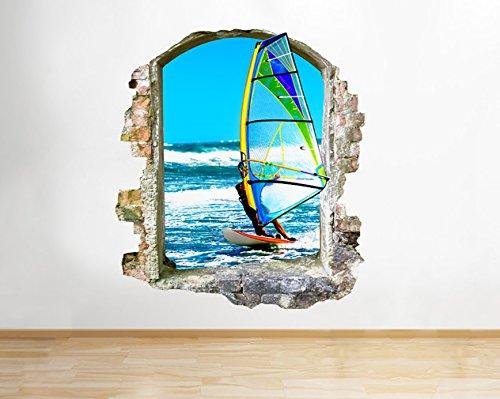 Preisvergleich Produktbild tekkdesigns Q637 Windsurf Sea Sport Cool Living Fenster Wand Aufkleber 3D Kunst Aufkleber Vinyl Raum
