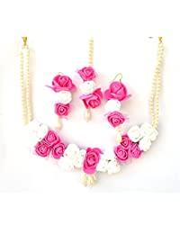 Floret Jewellery Pink White Flower Jewellery Set With Maang Tika And Earrings For Women & Girls