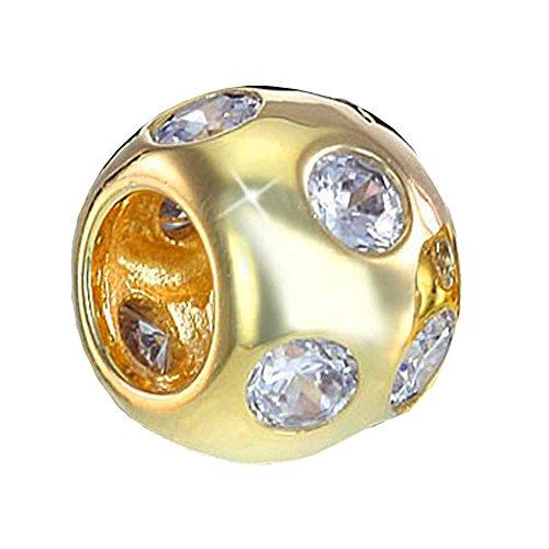 MATERIA Schmuck Gold Beads Perle/Kugel mit 10 weißen Zirkonia - 925 Silber Bead 14k Gold vergoldet #688 - Silber Kugel Hülse Mit