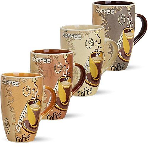 matches21 Große Tassen Becher Kaffeetassen Kaffeebecher Modern Coffee aus Keramik 4-tlg. Set je 12 cm / 350 ml