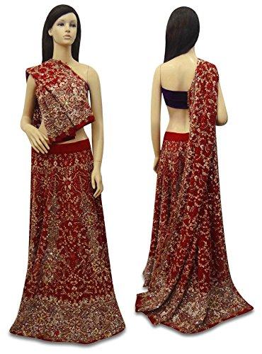 Weinlese-indische Braut Designer Lehenga Set Schweres Wulstig Gewebe Hochzeit roten Kleid Georgette-set
