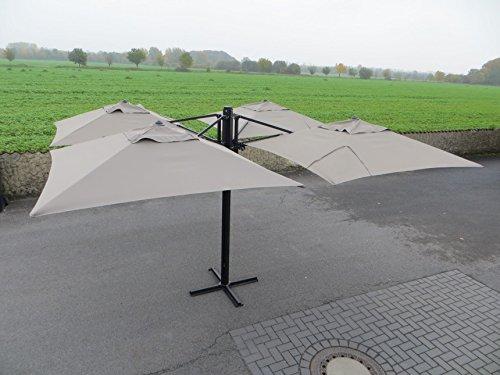 Madison Gastronomie Gartenschirm 'Murano IV' mit vier separat verstellbaren Schirmen in taupe, UV-Schutz 40 Plus