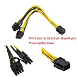 Gaddrt PCI-E 6-pin à 2 x 6 +-pin (6-pin/8-pin) câble répartiteur d'alimentation PCIe PCI Express (Jaune)