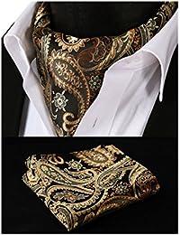 Hisdern Herren Ascot-Set mit floralem Muster, aus gewebtem Jacquard