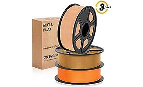 Filamento per stampante 3D SUNLU PLA Plus, filamento PLA Plus 1.75 mm, Precisione dimensionale a basso odore +/- 0,02 mm, Filamento per stampa 3D, bobina da 2,2 LBS (1 KG) per stampanti 3D e penne 3D