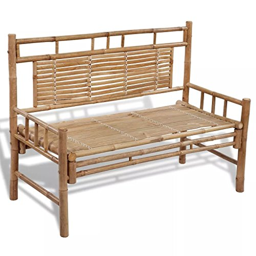 Tuduo Gartenbank Sitzbank aus Bambus Parkbank mit Rückenlehne 120 x 55 x 90 cm