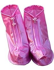 HevaKa Moda Zapatos Impermeables Pink Calzado Impermeable con Cremallera Reutilizable Cubiertas Alta Elástica Tela de La Cubierta Espesa Suela Antideslizante Zapatos Resistente al Desgaste de Cubiertas - XL