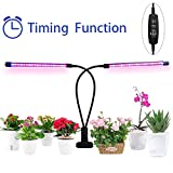 KedBrok LED Grow Light, 18W Plant Grow Lamp Dual Head 40 LEDs with Timing Function and 8 Dimmable Levels for Indoor Plants Hydroponics Greenhouse Gardening Plant (3/9/12H Timer)