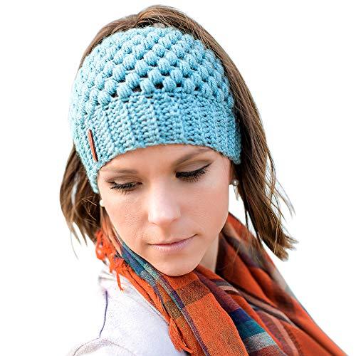 Tacobear Mujer Sombreros de Invierno Knit Ponytail Beanie Hat Caliente Gorro de Punto de Invierno y el Agujero (Azul)
