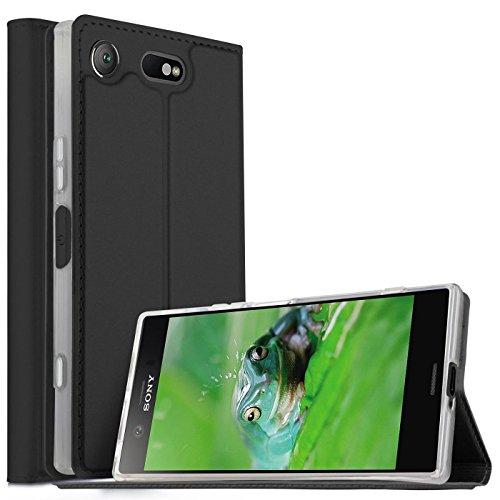 Verco Handyhülle für Xperia XZ1 Compact, Premium Handy Flip Cover für Sony Xperia XZ1 Compact Hülle [integr. Magnet] Book Case PU Leder Tasche, Schwarz