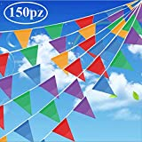 Gudotra (150pcs 80mètres Guirlandes Fanions Multicolores Bannières Nylon Triangles Décor de Jardin en Plein Air Intérieur