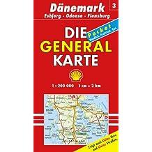 Generalkarte Dänemark 3. Esbjerg, Odense, Flensburg 1: 200 000.