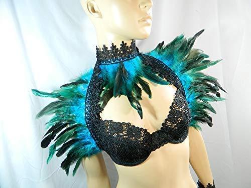Set türkis Federstola und Federkragen Pfau Eisvogel Kostüm Burlesque Karneval Fasching - Steampunk Burlesque Kostüm