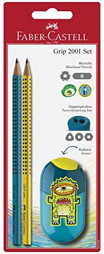 Faber-Castell 183560Grip 2001Juego de sacapuntas doble y 2lápices con puntos
