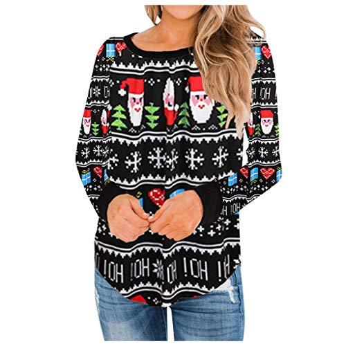 Writtian Damen Bluse Weihnachten Kleidung für Frauen große größen Rundhals Bluse Langarm Oberteile Schneemann Drucken Weihnachtspulli mädchen Weihnachten Kleid Damen Lässig Baumwolle
