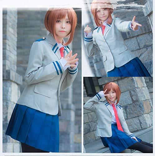 I TRUE ME Anime Cosplay My Hero Academia Boku no Hero School Girl Uniform Uraraka Costume,M