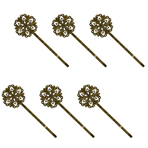 6pcs Rétro Pince Epingle à Cheveux Vintage Pin Barrette Fleur - Bronze Antique