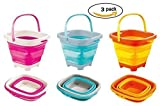 Top Race Foldable 10 Inch Pail Buckets Silicone Collapsible Buckets Multi Purpose 5 Liter, 1.5 Gallons (Pack of 3), Various Colors