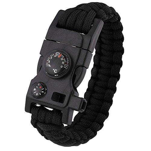 GGG 15-in-1Survival-Armband, multifunktionale Outdoor Notfall- Armbänder mit Kompass, Pfeiffe und Thermometer Größe L grün