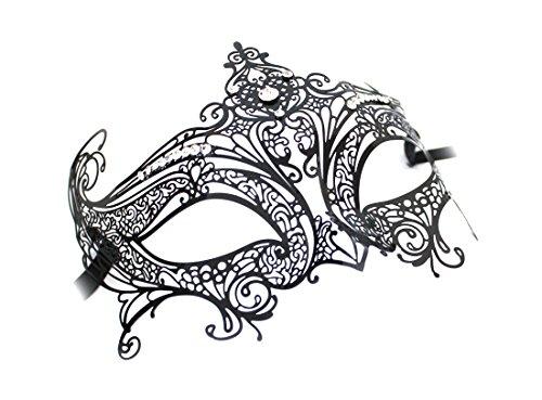 Original Venezianische Maske Damen Metallmaske Libellula Lux Luxus Handarbeit schwarz mit Strasssteinen ()