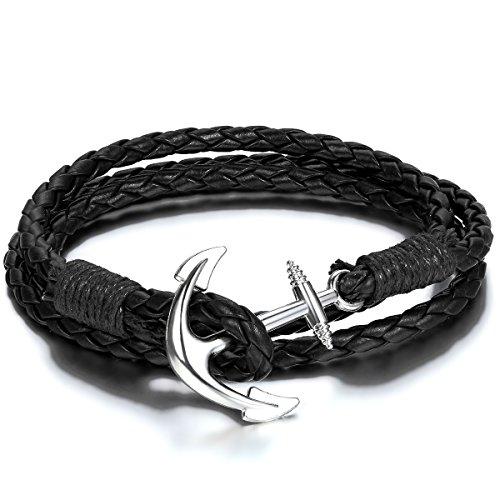 JewelryWe Schmuck Herren Damen Armband, Geflochten Anker Armreif, Leder Legierung, Schwarz Silber