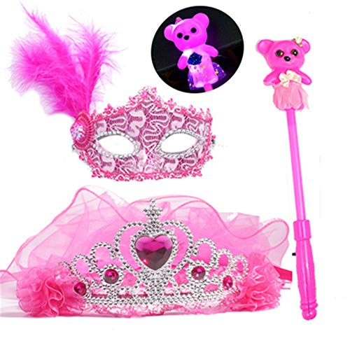 ZjkMr Halloween kindermaske Frauen Prom Prinzessin mädchen Krone Schleier Festliche Partei Dress up Make-up Maske halbes Gesicht + glühen Schleier + glühende Lollipop + Prinzessin Maske (3 Farbe