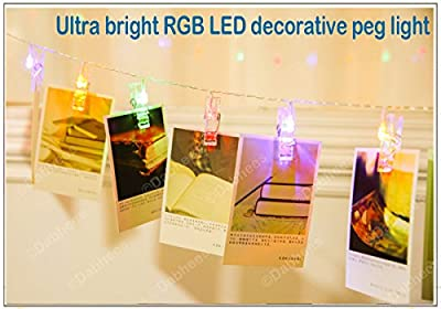 Dabhees LED Photo Clip String Lights, Perfect for Hanging Pictures, Notes, Artwork, art display Bunting clips LED 4,5 Meter/15 Feet, RGB Colour changing Warm White