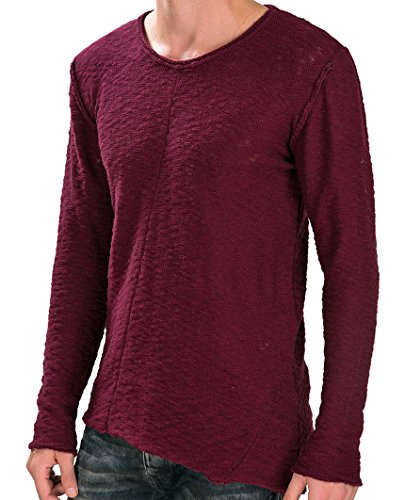 Red Bridge Herren Asymmetrical Line Strickpullover Beige Bordeaux